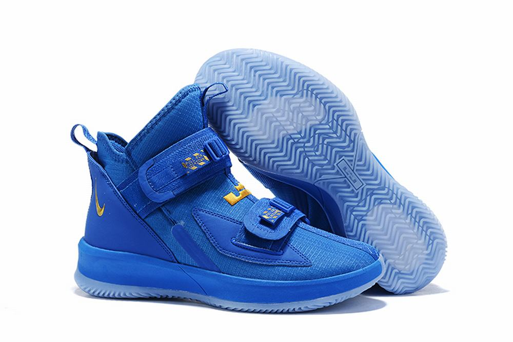 Nike Lebron James Soldier 13 Shoes Blue Golden